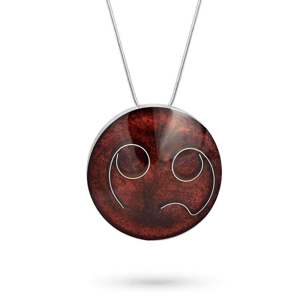 Handmade Resin Round Burgundy Pendant by Magpie's Loot