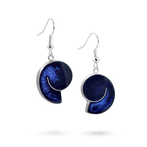 Handmade Resin Shell Blue Earrings by Magpie's Loot