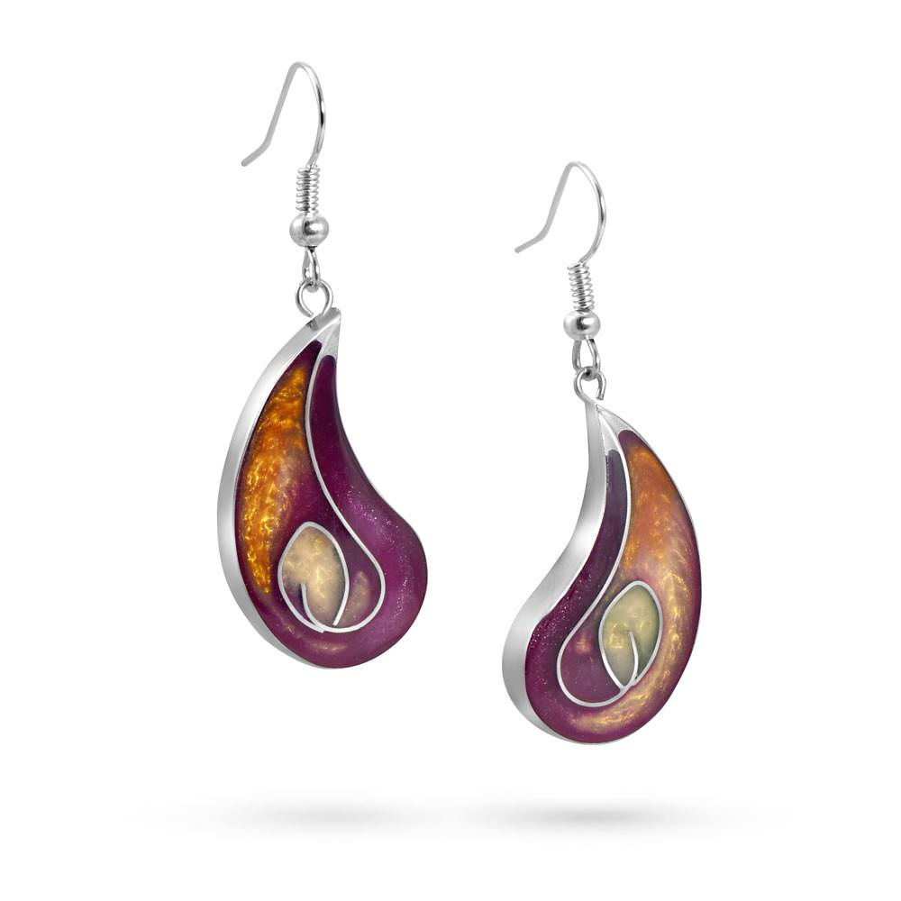 Handmade Resin Lily Fuchsia/Amber Earrings by Magpie's Loot
