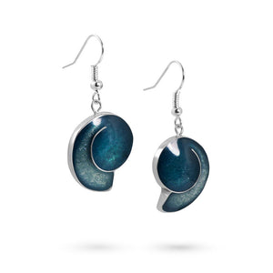 Handmade Resin Shell Teal Earrings by Magpie's Loot