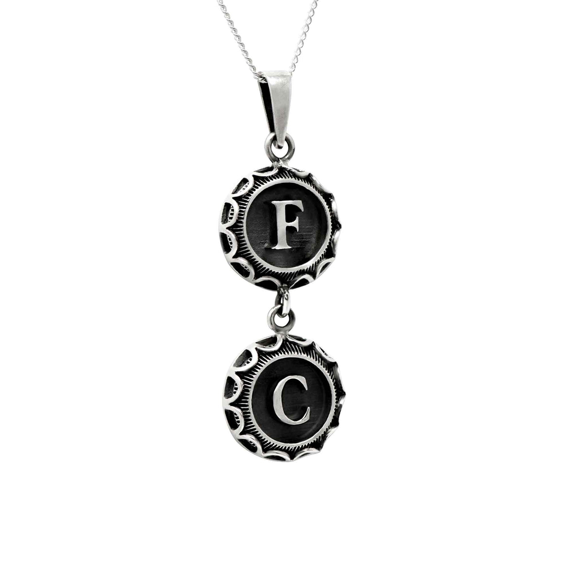 Typewriter Style Double Letter Pendant