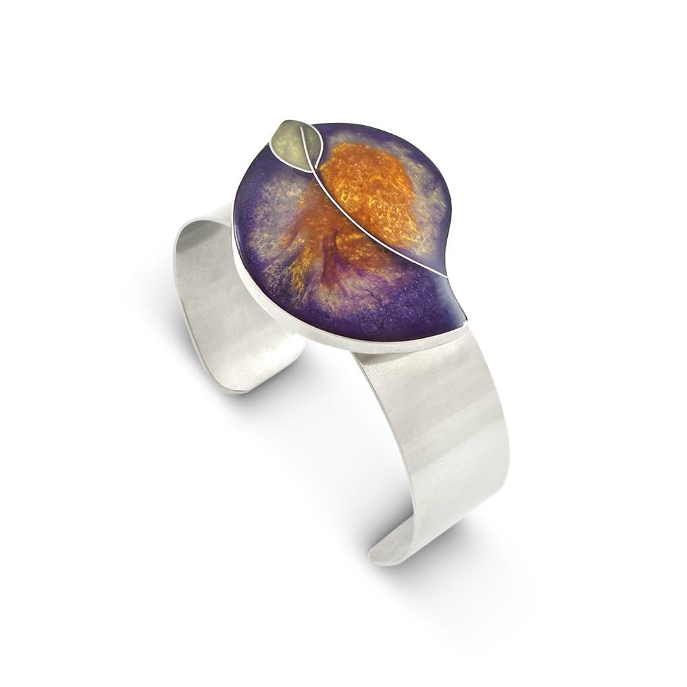 Handmade Resin Leaf Purple/Amber Bangle by Magpie's Loot