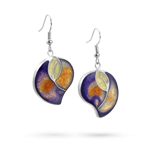 Handmade Resin Leaf Purple/Amber Earrings by Magpie's Loot
