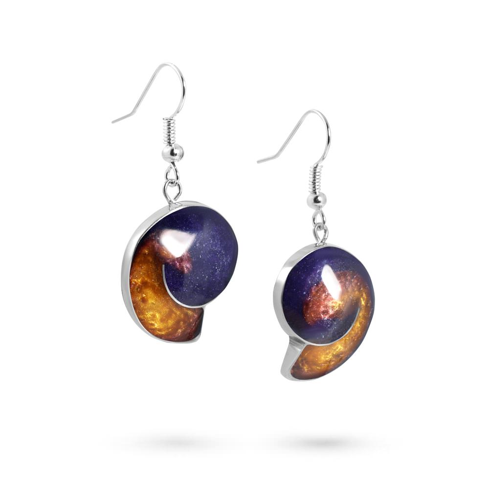 Handmade Resin Shell Purple/Amber Earrings by Magpie's Loot