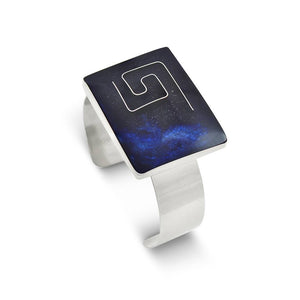 Handmade Resin Rectangular Blue Bangle by Magpie's Loot