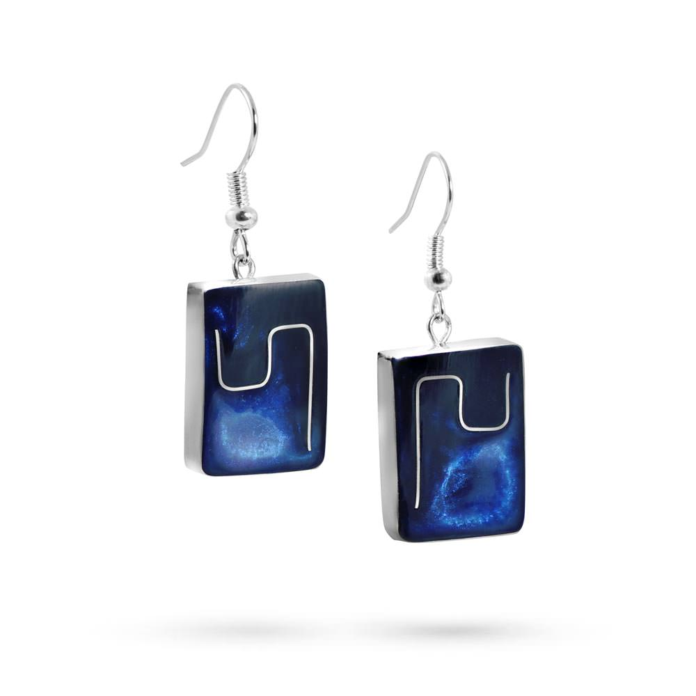 Handmade Resin Rectangular Blue Earrings by Magpie's Loot