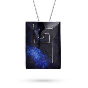 Handmade Resin Rectangular Blue Pendant by Magpie's Loot