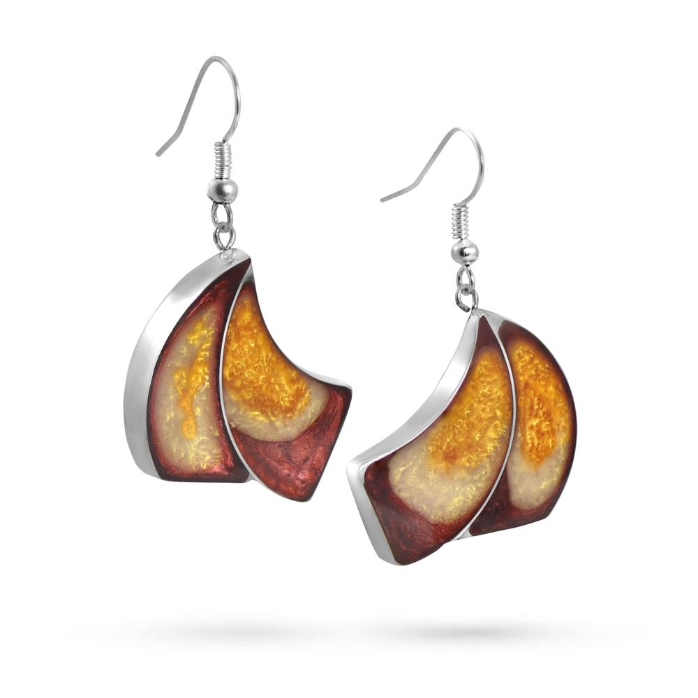 Handmade Resin Fan Red/Amber Earrings by Magpie's Loot
