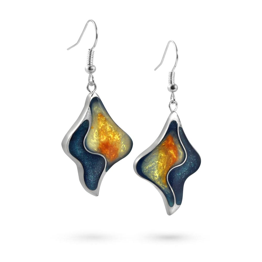 Handmade Resin Wavy Teal/Amber Earrings by Magpie's Loot