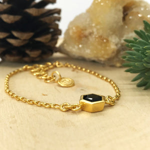 Gold Hexagon Bracelet with 8mm Faceted Black Onyx
