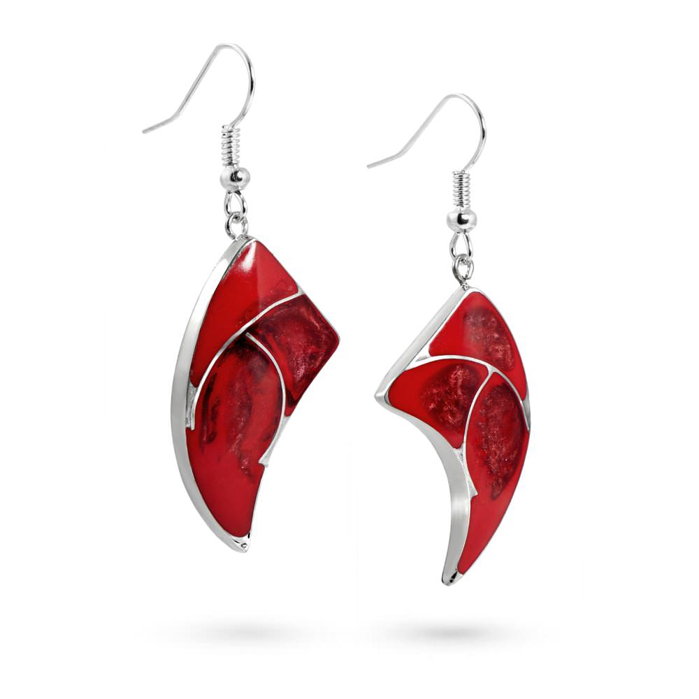 Handmade Resin Horn Red Earrings by Magpie's Loot