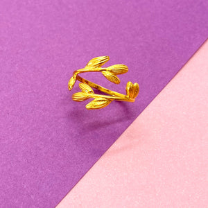 Adjustable Gold Vermeil Leaf Ring