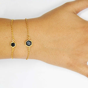 Gold Bracelet with 6mm Faceted Black Onyx on Wrist