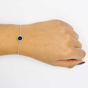 Silver Bracelet with 8mm Faceted Black Onyx on Wrist