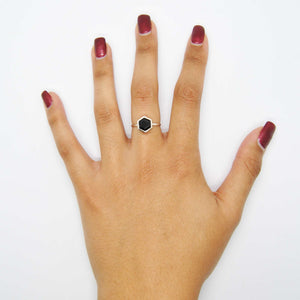 Silver Hexagon Ring with 8mm Faceted Black Onyx on Hand