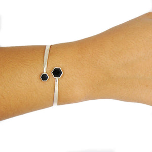 Silver Bangle with Double Faceted Black Onyx on Wrist