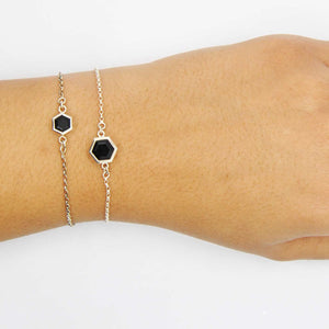 Silver Bracelet with 8mm and 6mm Faceted Black Onyx on Wrist