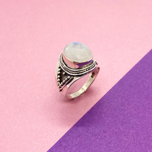 Moonstone Bali Style Large Silver Ring