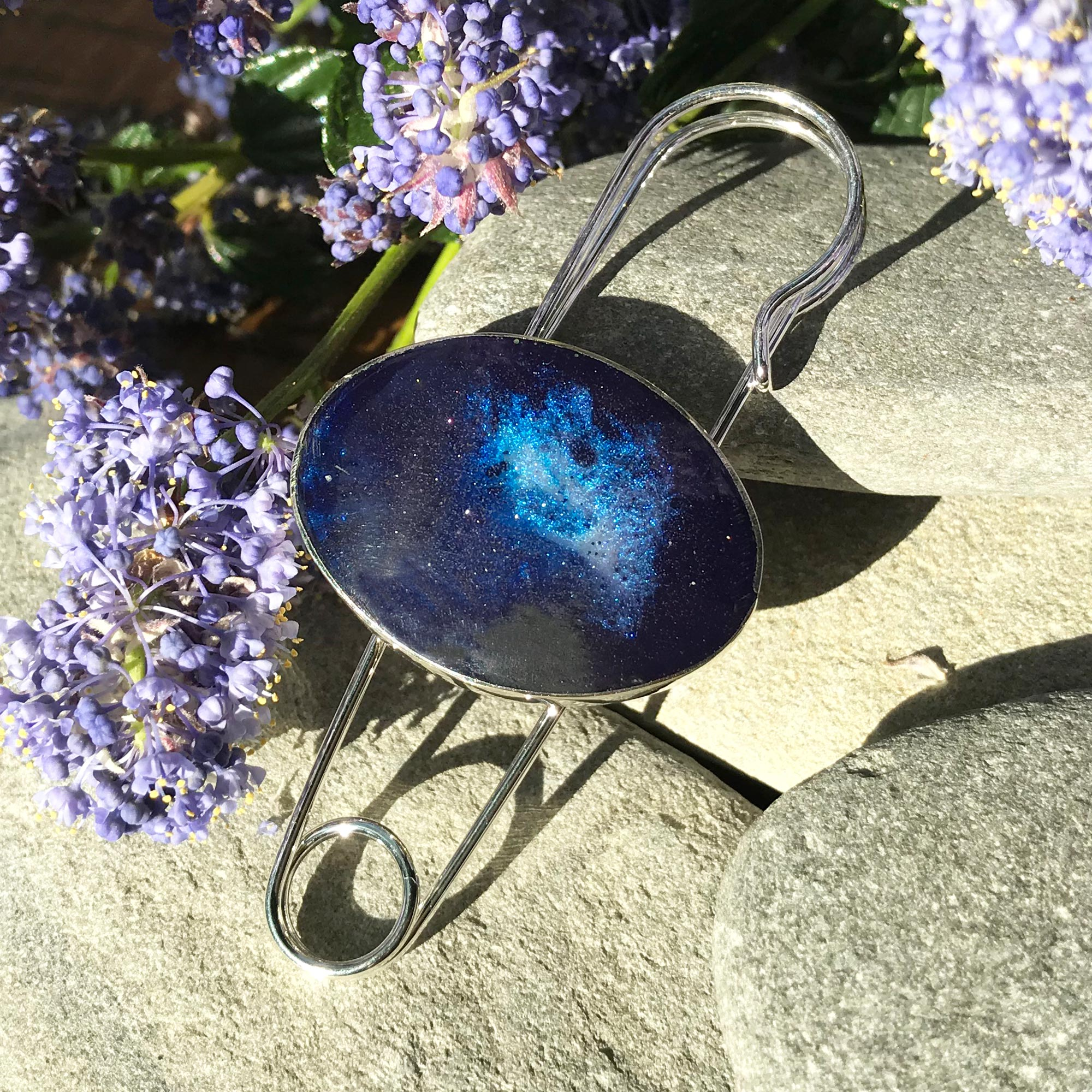 Handmade Resin Deep Sea Blue Oval Pin