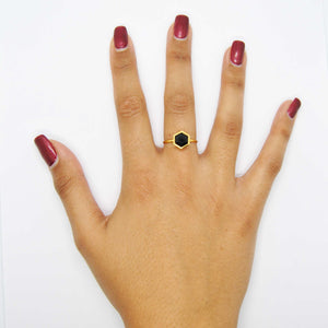 Gold Hexagon Ring with 8mm Faceted Black Onyx on hand