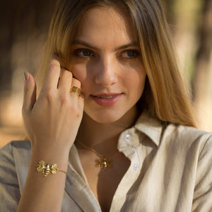 Gold Honeycomb Stacking Ring (Hollow Design)