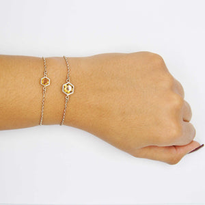 Silver Bracelet with 6mm Faceted Honey Quartz on Wrist
