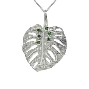 Exotic Monstera Pendant with Green Peridot