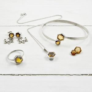 Magpie's Loot Honeycomb Collection Honey Quartz Silver Jewellery Set