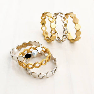 Magpie's Loot Honeycomb Collection Silver and Gold Stacking Rings Jewellery Set