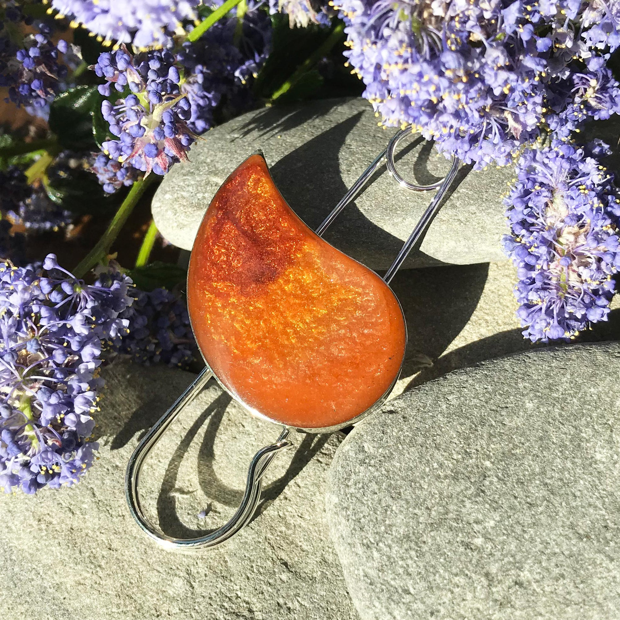 Handmade Resin Orange and Amber Drop Shape Pin