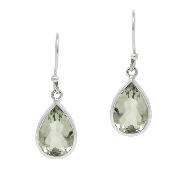 Exotic Green Amethyst Pear Shape Earrings