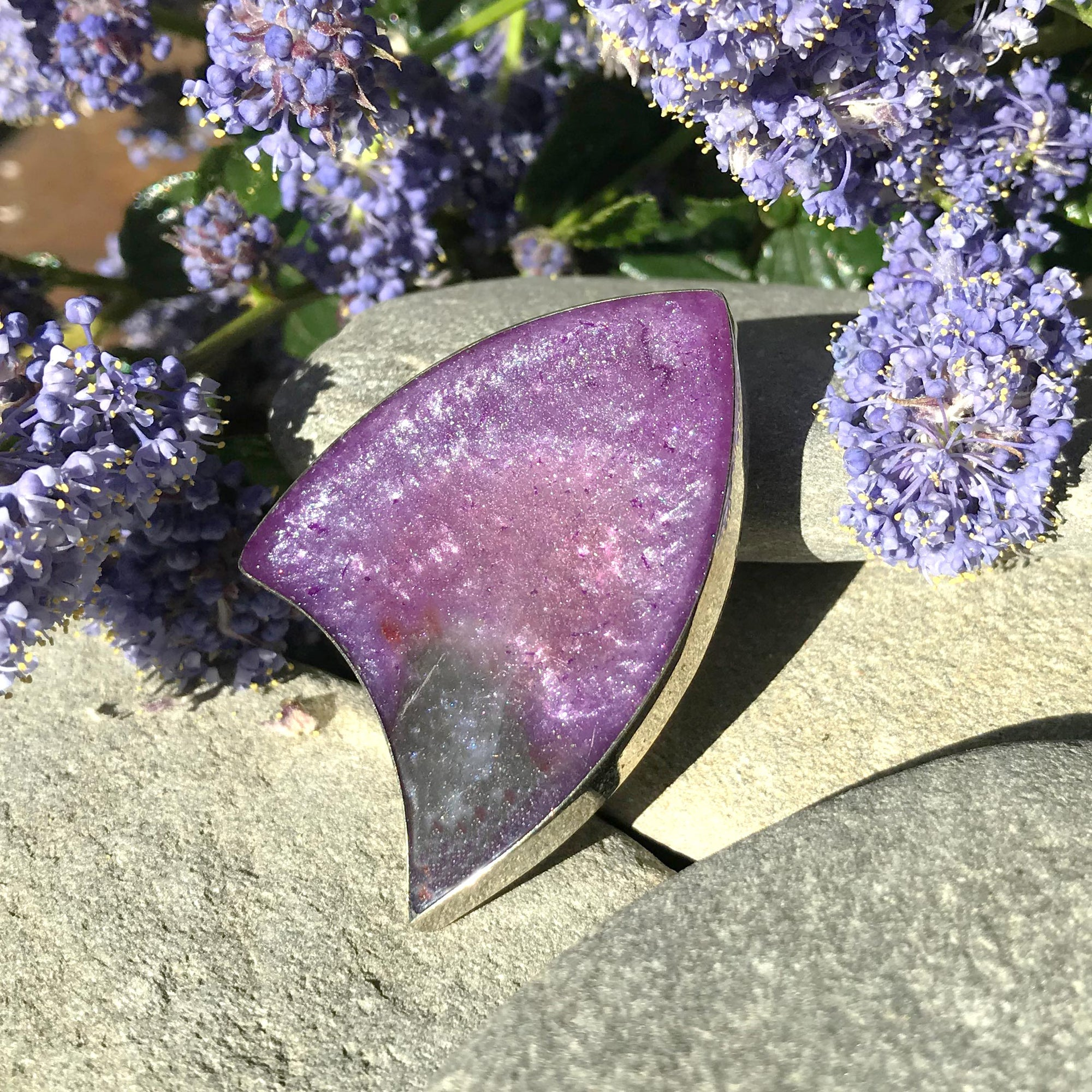 Handmade Resin Purple Shield Brooch