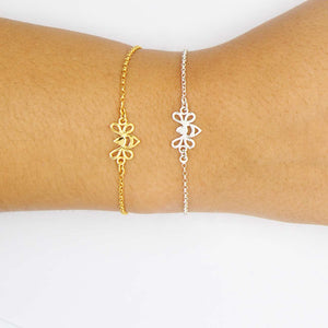 Gold  and Silver Tiny Bee Bracelet on Wrist