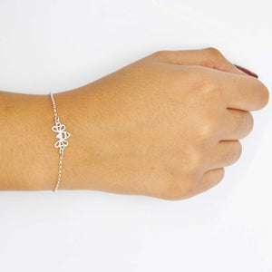 Silver Tiny Bee Bracelet on Wrist