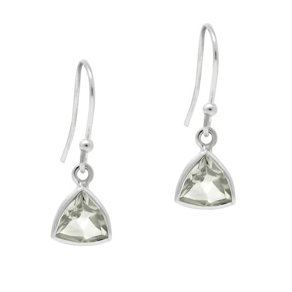 Exotic Green Amethyst Trillion Shape Earrings