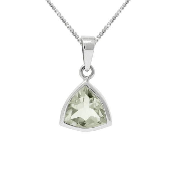 Exotic Green Amethyst Trillion Shape Pendant