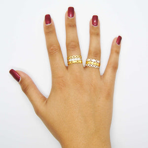 Magpie's Loot honeycomb collection Silver and Gold Stacking Rings