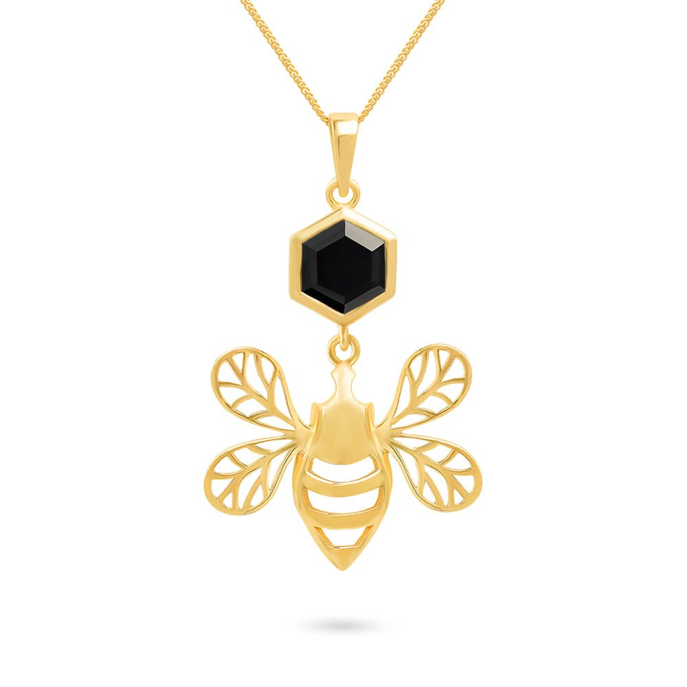 Gold bee pendant with faceted black onyx magpies loot gold bee pendant with faceted black onyx aloadofball Images