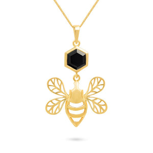 Gold Bee Pendant with Faceted Black Onyx
