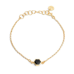 Gold Bracelet with 6mm Faceted Black Onyx