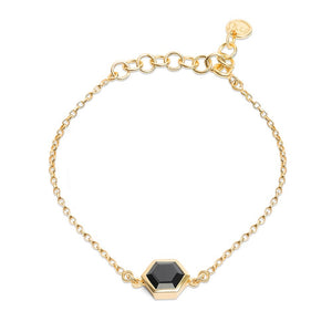 Gold Bracelet with 8mm Faceted Black Onyx