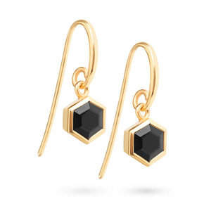 Gold Hexagon Earrings with 6mm Faceted Black Onyx