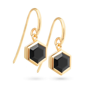 Gold Hexagon Earrings with 8mm Faceted Black Onyx