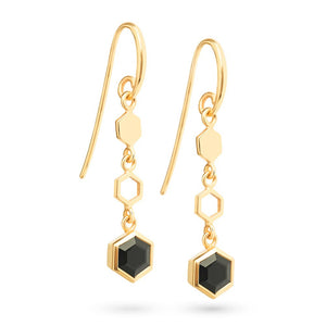Gold Hexagon Long Earrings with Faceted Black Onyx