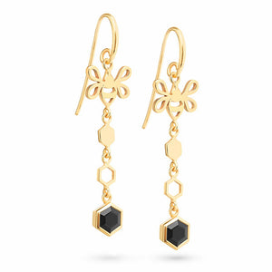 Gold Hexagon Long Earrings with Tiny Bee and Faceted Black Onyx