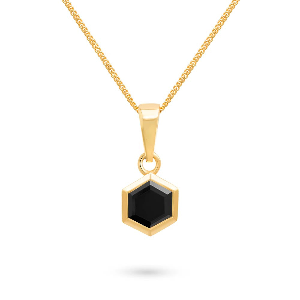 Gold Hexagon Pendant with 6mm Faceted Black Onyx