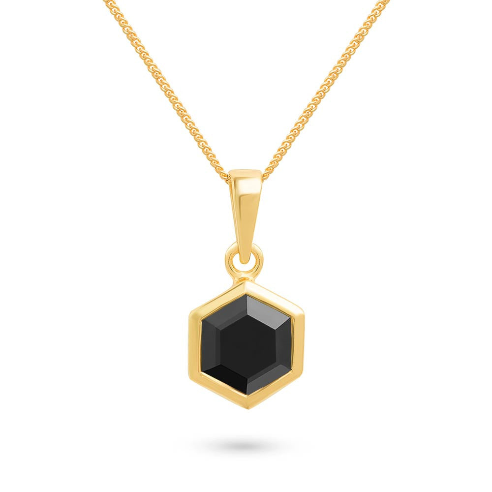 Gold Hexagon Pendant with 8mm Faceted Black Onyx