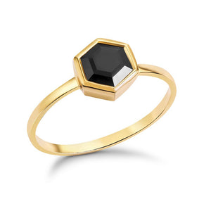 Gold Hexagon Ring with 6mm Faceted Black Onyx