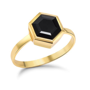 Gold Hexagon Ring with 8mm Faceted Black Onyx