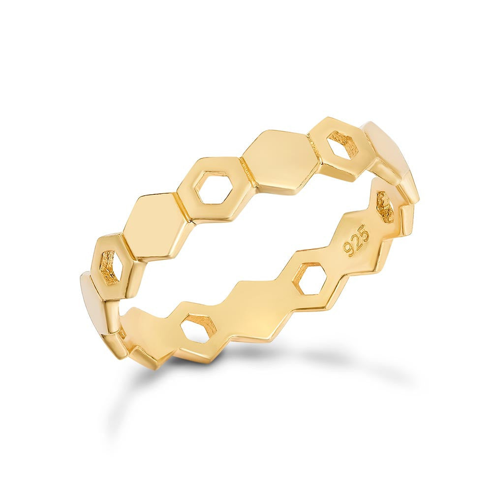 Anello Honeycomb Sovrapponibile in Oro (Design esagoni alternati)